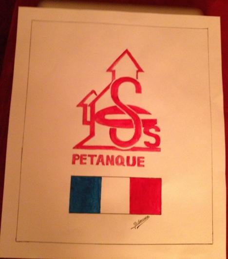 St genevieve des Bois Petanque's  logo hand painted by Jo