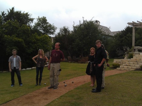Petanque at the family's house.