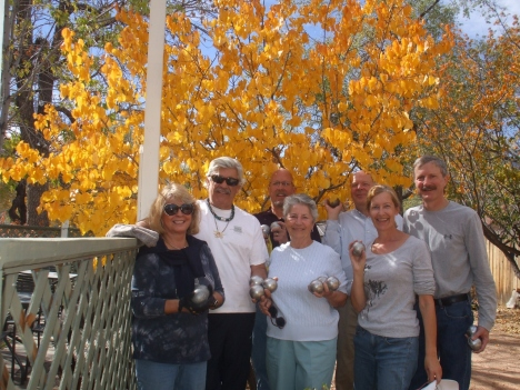 The main group of CO Springs Petanque club From left to right : Luba,
