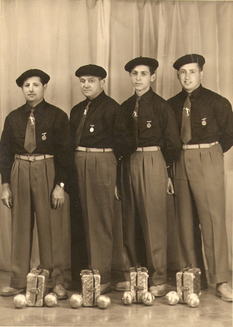 Jo is third from the left Photo was taken in  Kouba Algeria when he was 15 and  won his first  Lyonnaise Quadrette. Notice his pointer tie.