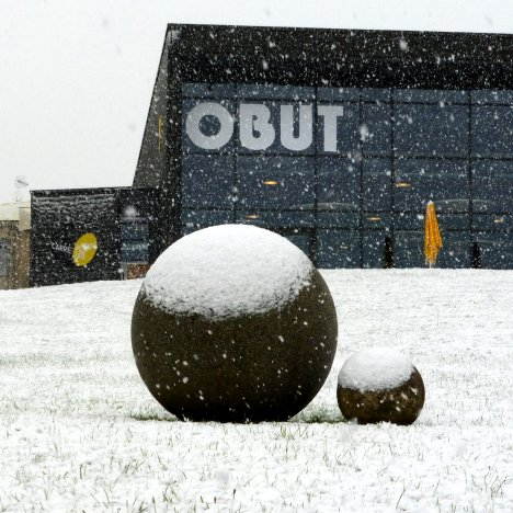 Obut factory under the snow.