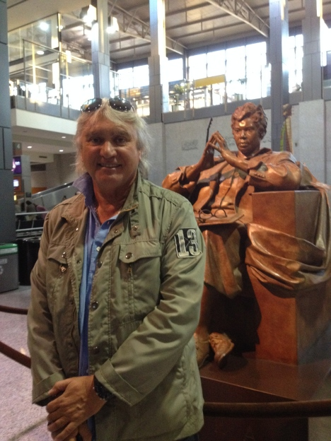 At the Austin's airport, with Barbara Jordan.