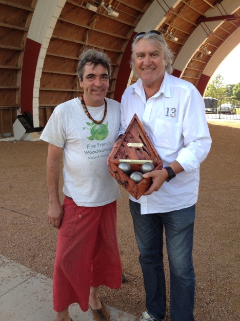Gift to Marco from Thierry Amisse of an extraordinary hand made ball carrier made of mesquite wood. !