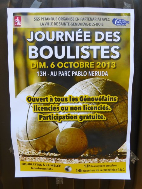 Poster for the St Genevieve des Bois tournament posted all over town.