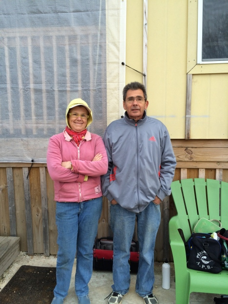 Patrick Vaslet and Shannon Bowman both from the Sonoma Petanque club Shannon is the President of the club.