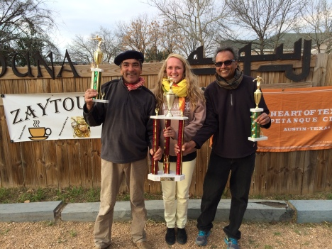 Thierry Amisse on left Hasu Patel on right, Alexandra the trophy presenter.