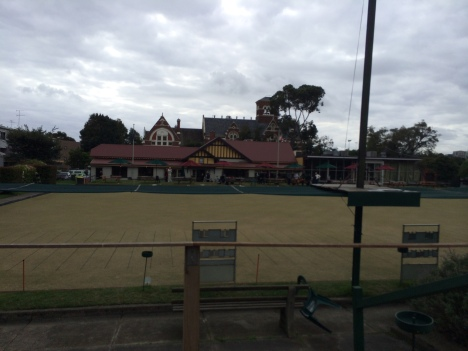View of the club house from the petanque courts.