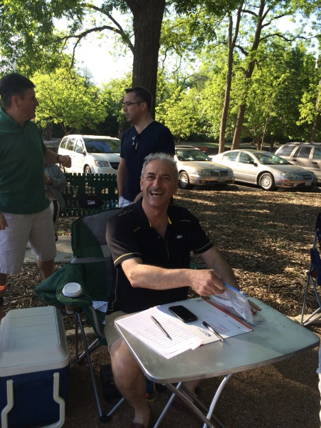 Cesar at the registration table, always smiling and welcoming.  Soon to be the new President o f the Dallas Petanque Club