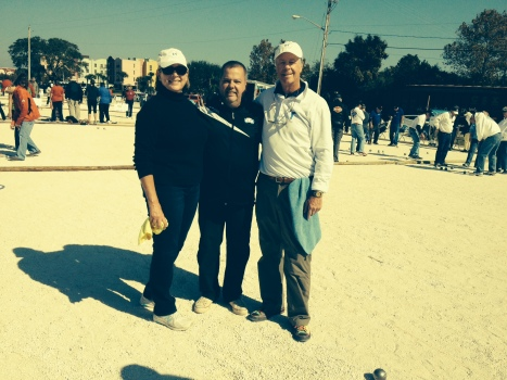 """Tina Montague and Bob Montague, Amelia Island Boules Club with triples partner, Claudy Weibel, former World Champion and 2012  Amelia Island U.S. Open during 2014 U.S Open, """"Play with A Champion"""" event"""